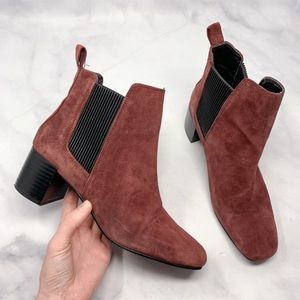 🔥Zara Suede Squared-Toe Chelsea Ankle Bootie Boho